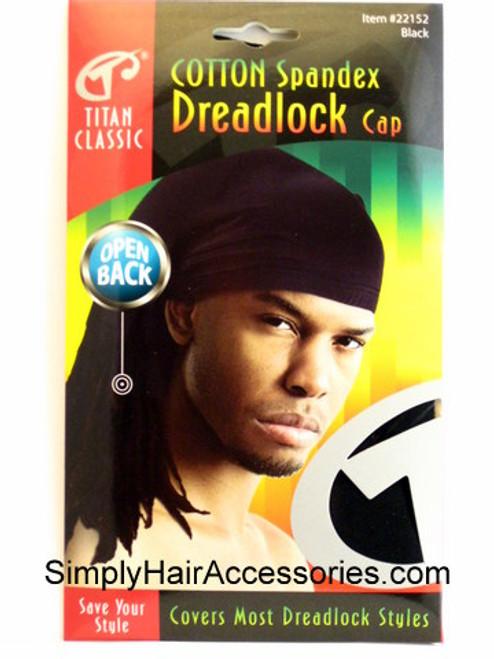 Titan Classic Open Back Cotton Spandex Dreadlock Cap - Black
