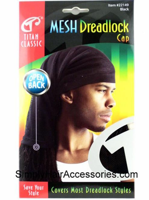 Titan Classic Open Back Mesh Dreadlock Cap - Black