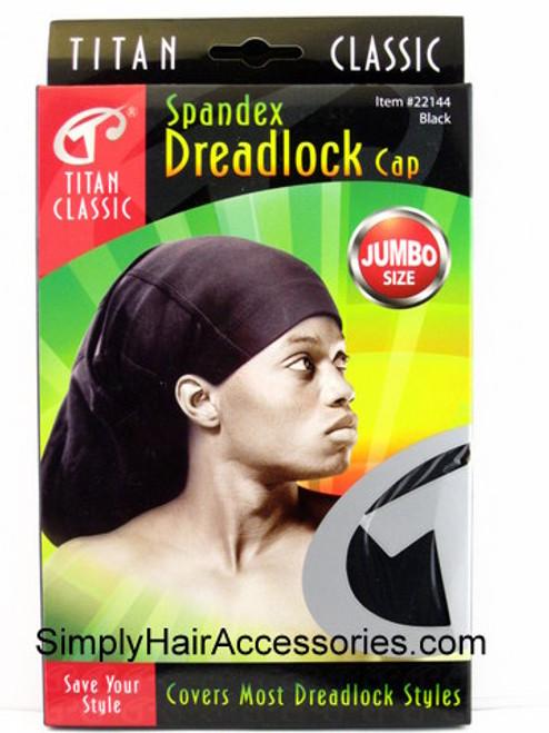 Titan Classic Spandex Jumbo Dreadlock Cap - Black