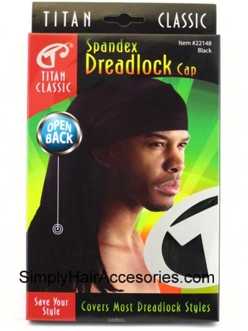 Titan Classic Spandex Open Back Dreadlock Cap - Black