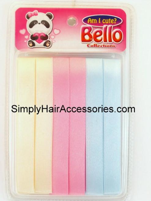 Bello Girls Hair Ribbons - Ivory, Pink, Blue - 6 Pcs.