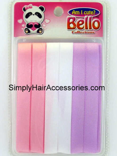Bello Girls Hair Ribbons - Pink, White, Purple - 6 Pcs.