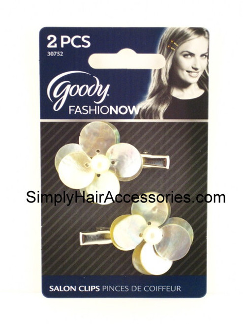 Goody Luxe FashioNow Pearled Shell Flower Salon Hair Clips -  2 Pcs.