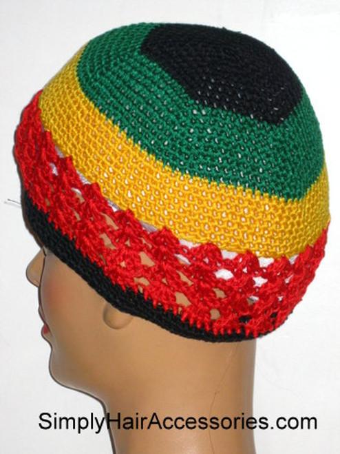 Qfitt Fish Net Jamaican Knit Skull Kufi Cap