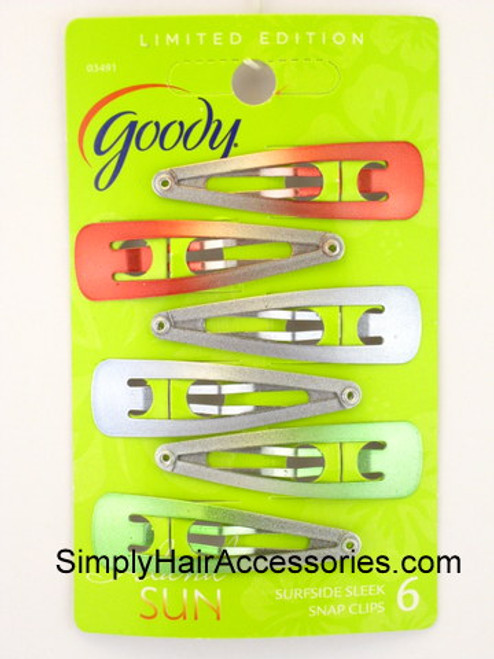 Goody Limited Edition Surfeside Sleek Snap Clips - 6 Pcs.