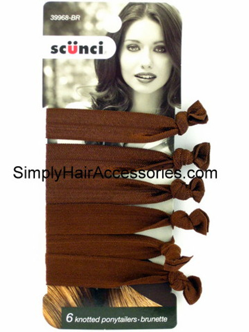 Scunci Knotted Ponytail Hair Elastics - 6 Pcs.