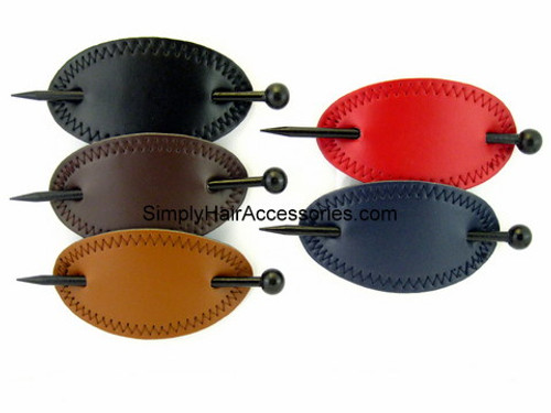 Oval Stitched Leather With Wooden Hair Stick - 1 Pc.