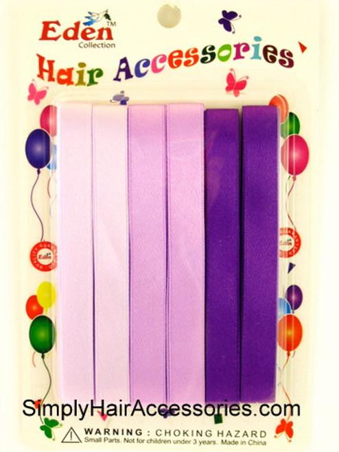 Eden Girls Hair Ribbons - Shades of Purple - 6 Pcs.