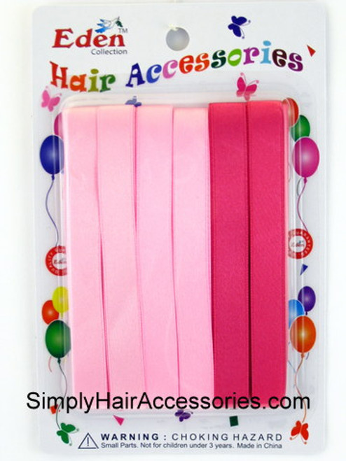 Eden Girls Hair Ribbons - Shades of Pink - 6 Pcs.