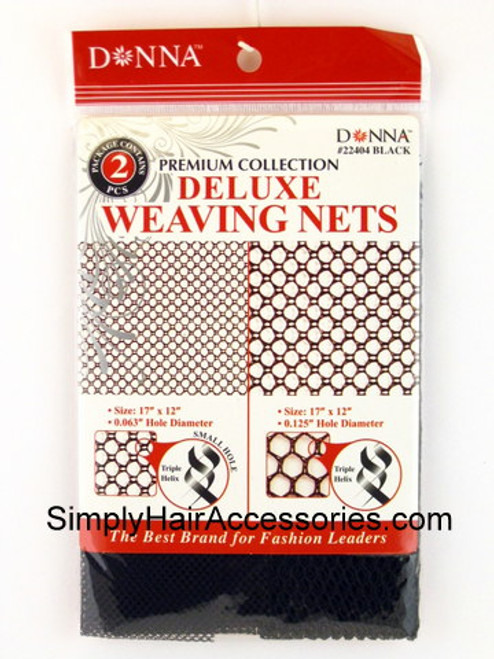 Donna Premium Collection Deluxe Large & Small Hole Weaving Nets - Black - 2 Pcs.