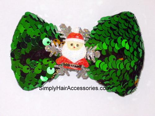 Christmas Sequin Hair Bow - 1 Pc.