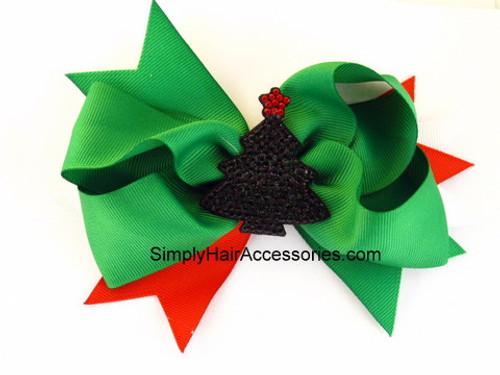 Christmas Tree Ribbon Hair Bow - 1 Pc.