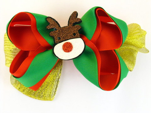 Christmas Ribbon Hair Bow - 1 Pc.