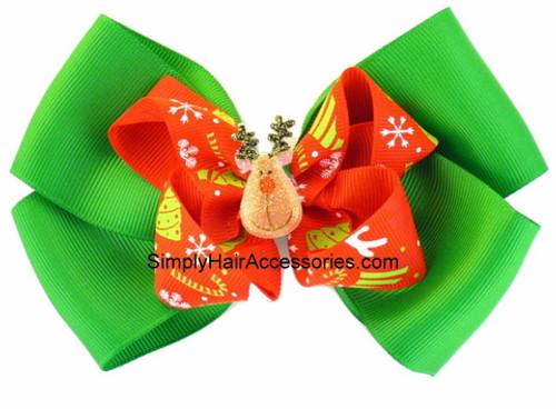 Christmas Red & Green Ribbon Hair Bow - 1 Pc.