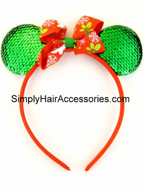 Christmas Ribbon Bow Mickey Mouse Head Band - 1 Pc.