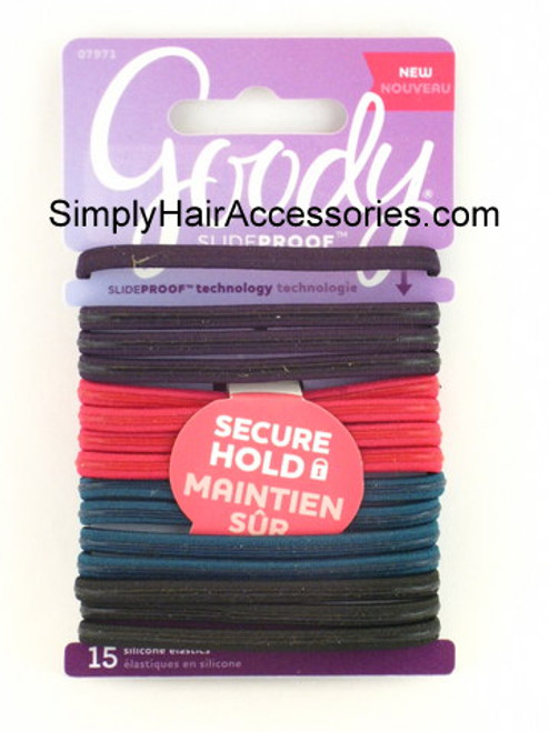 Goody SlideProof Silicone Hair Elastics - 15 Pcs.