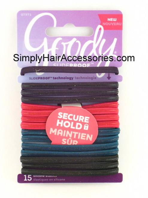 Goody SlideProof Silicone Hair Elastics - 15 Pcs.