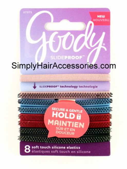Goody Soft Touch Slideproof  Silicone Hair Elastics - 8 Pcs.