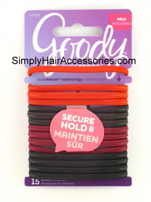 Goody Silicone SlideProof Hair Elastics - 15 Pcs.