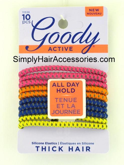 Goody Silicone Thick Hair Elastics - 10 Pcs.