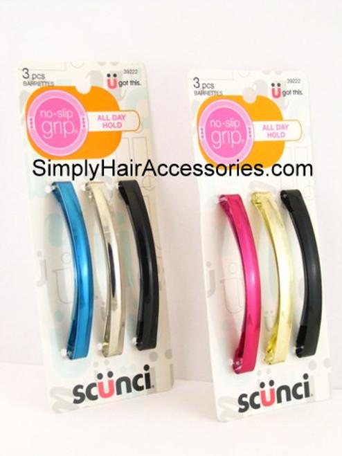 Scunci Metal Domed Hair Barrettes - 3 Pcs.
