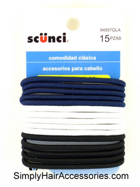 Scunci 4mm Ponytail Hair Elastics - 15 Pcs.