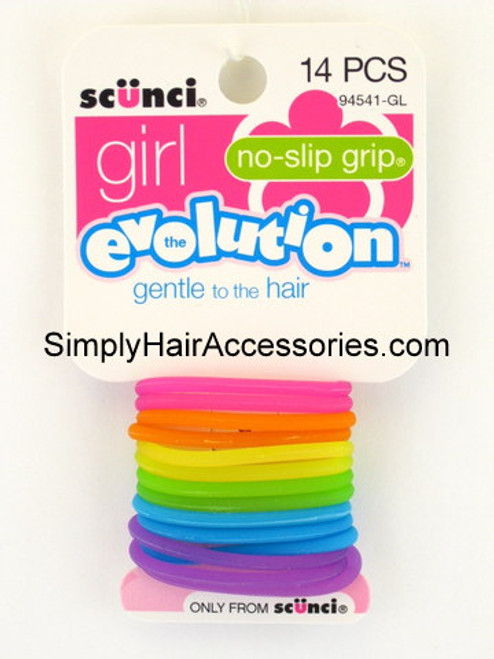 Scunci Girl Evolution No Slip Grip Gel Elastics - 14 Pcs.