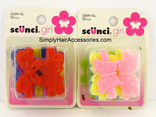 Scunci Girl Self-Hinge Butterfly Barrettes - 10 Pcs.