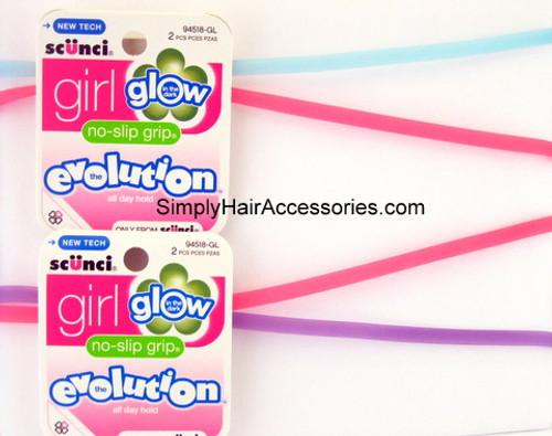 Scunci Girl Evolution No Slip Grip Glow In The Dark Head Bands - 2 Pcs.