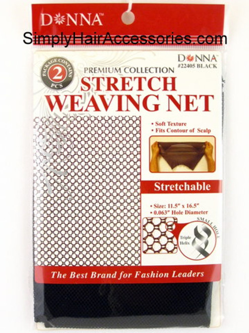 Donna Black Stretch Weaving Nets - 2 Pcs.
