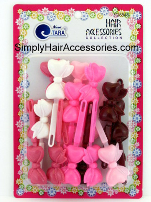 Tara Girls Self Hinge Bow Hair Barrettes - Maroon, Pink & White - 18 Pcs.