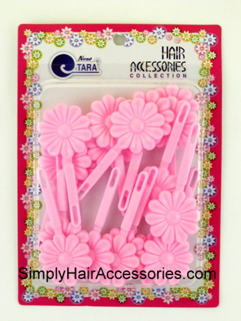 Tara Self Hinge Flower Barrettes - Pastel Pink - 18 Pcs.