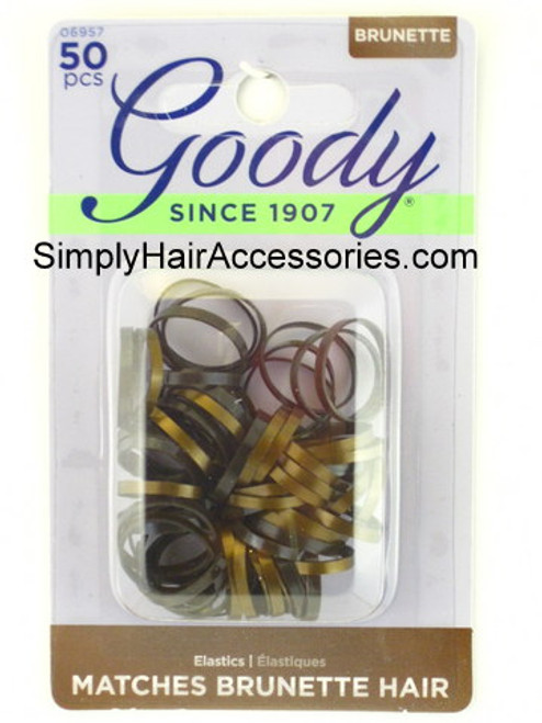 Goody Ouchless Brunette Latex  Elastics - 50 Pcs.