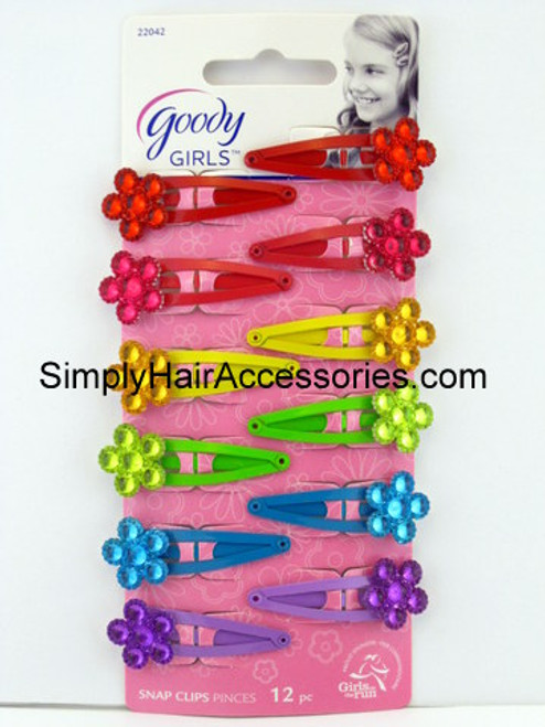 Goody Girls Jeweled Floral Snap Clips - 12 Pcs.