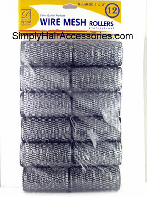 """Donna 1-1/2"""" X-Large Wire Mesh Hair Rollers - 12 Pcs."""