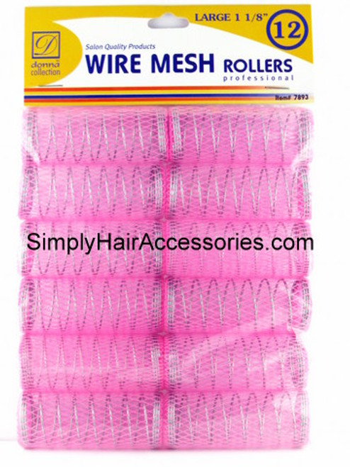"""Donna 1-1/8"""" Large Wire Mesh Hair Rollers - 12 Pcs."""