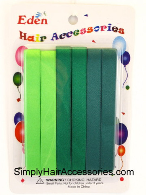 Eden Girls Hair Ribbons - Shades of Green - 6 Pcs.