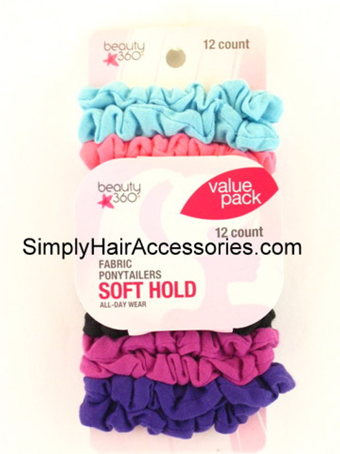 Beauty 360 Assorted Fabric Ponytailers - 12 Pcs.