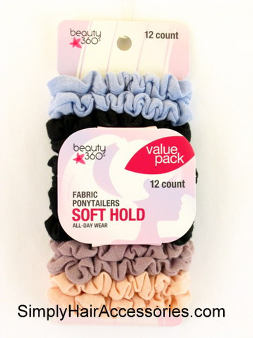 Beauty 360 Value Pack Assorted Fabric Ponytailers - 12 Pcs.