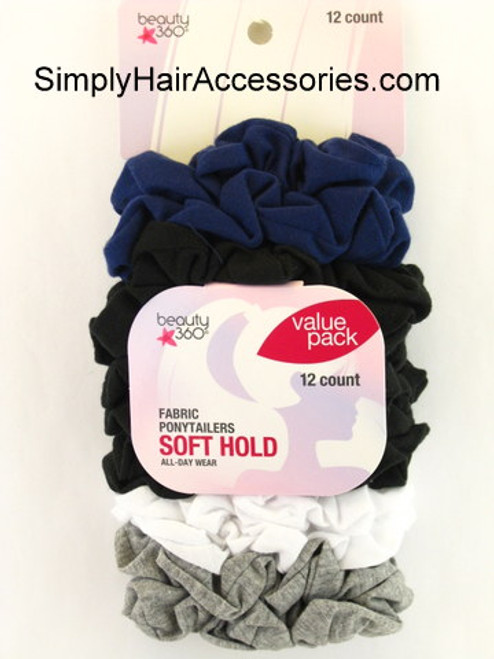 Beauty 360 Assorted Fabric Ponytailers - 12 Ct. Value Pack
