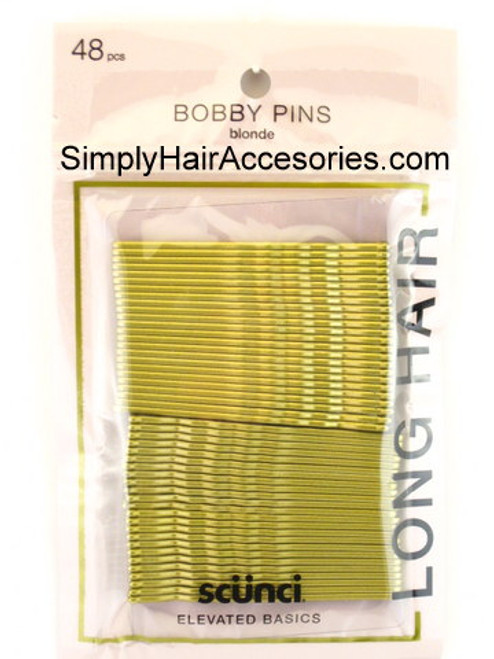 Scunci Blonde Extra Long Bobby Pins For Long Hair - 48 Pcs.