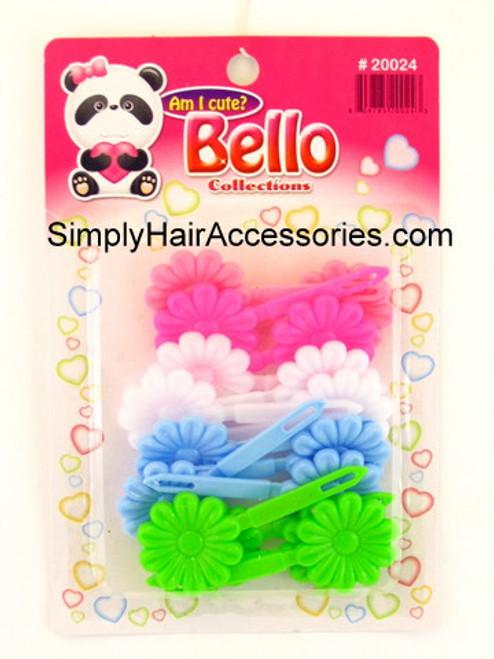 Bello Girls Flower Hair Barrettes - Pink, White, Blue, Green - 16 Pcs.