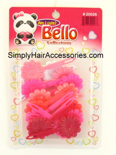Bello Girls Flower Hair Barrettes - Pink & White - 16 Pcs.