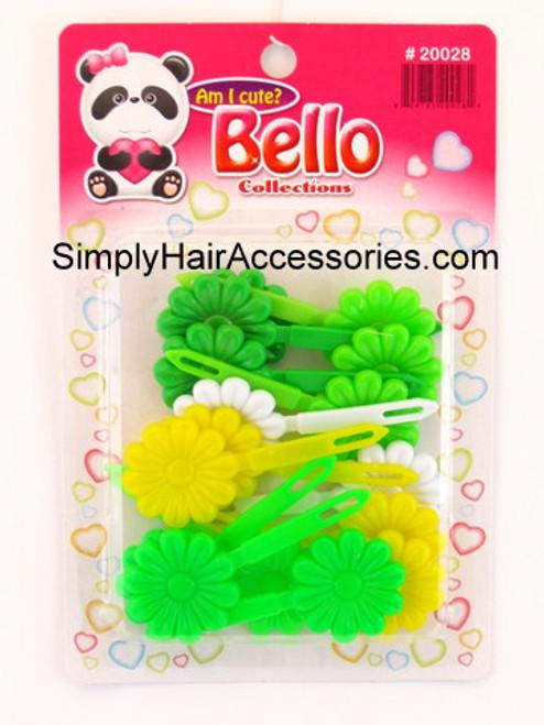 Bello Girls Flower Hair Barrettes - Green, White, Yellow - 16 Pcs.