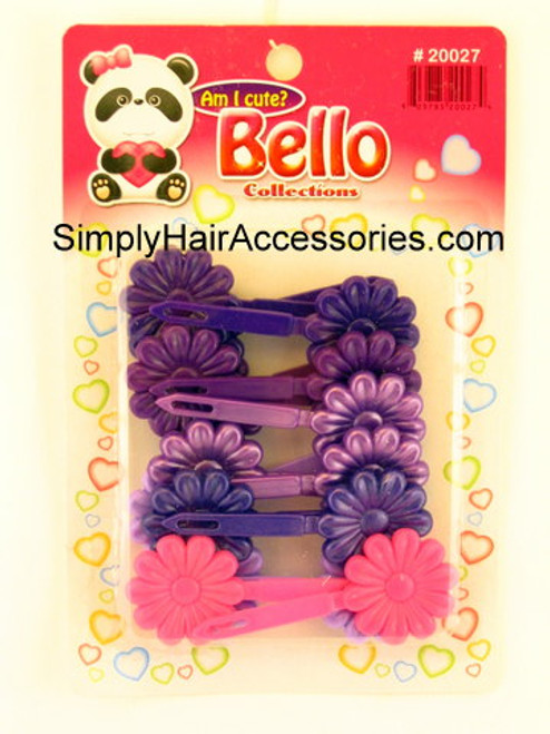 Bello Girls Flower Hair Barrettes - Purple & Pink - 16 Pcs.