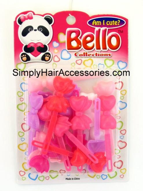 Bello Girls Bow Hair Barrettes - Purple, Pink White - 16 Pcs.
