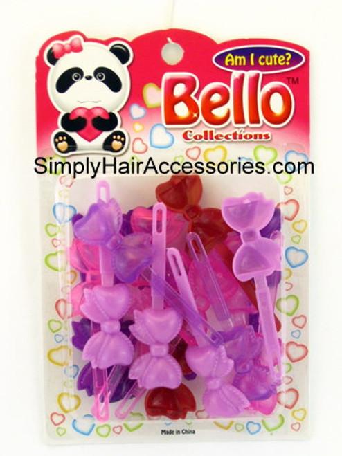 Bello Girls Bow Hair Barrettes - Purple & Pink - 16 Pcs.