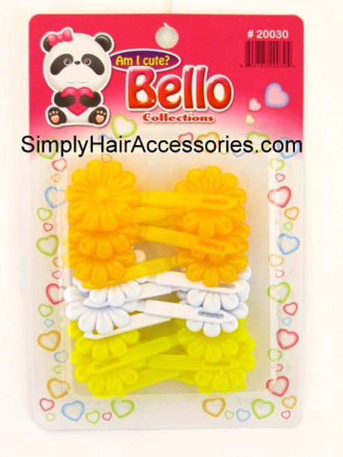 Bello Girls Flower Hair Barrettes -  Yellow & White - 16 Pcs.