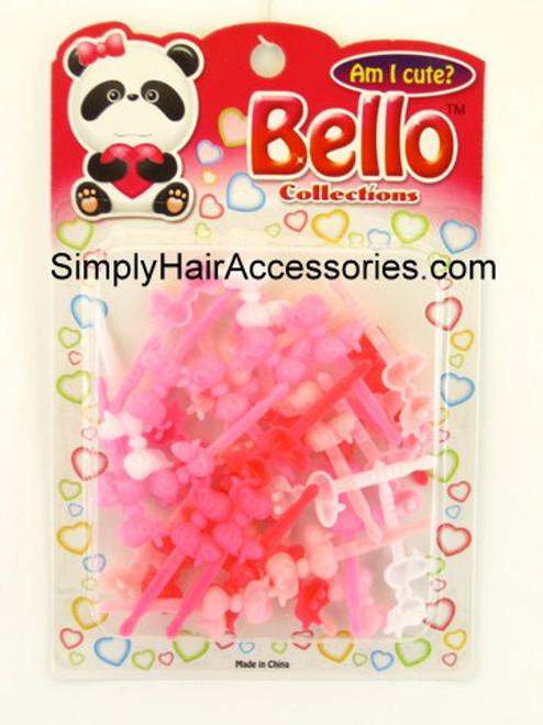 Bello Girls Baby Bow Barrettes - Pink & White - 16 Pcs.
