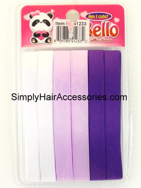 Bello Girls Hair Ribbons - White, Lilac, Purple  - 6 Pcs.